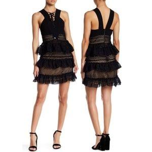 Romeo Juliet Couture Crochet Lace Black Mini Dress